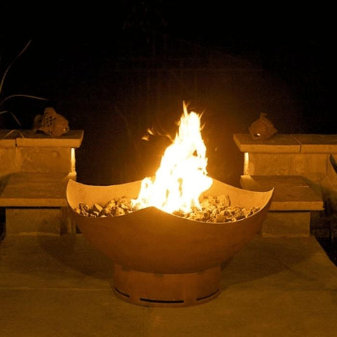 "Manta Ray 36"" Steel Fire Pit by Fire Pit Art with a Beautiful Fire Inside the Firepit"