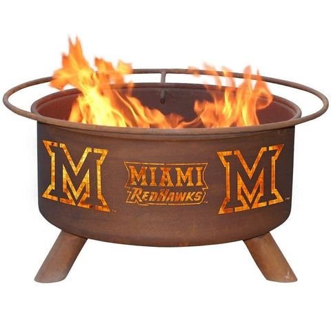 Miami (Ohio) F471 Steel Fire Pit by Patina Products with white background.