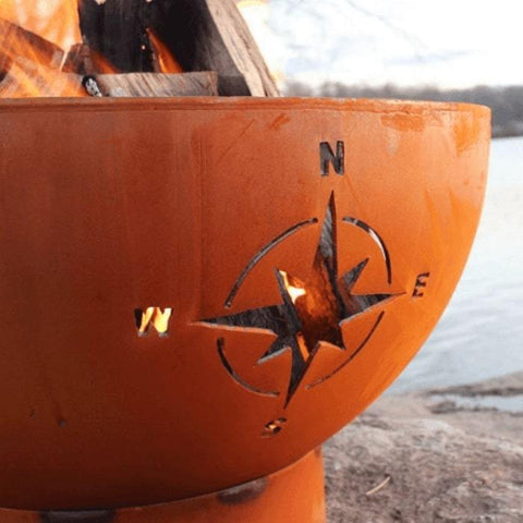 "Navigator 36"" Steel Fire Pit by Fire Pit Art with a  Focused Image of Half Side of the Pit"