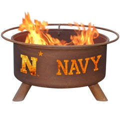 Navy F474 Steel Fire Pit by Patina Products with white background.