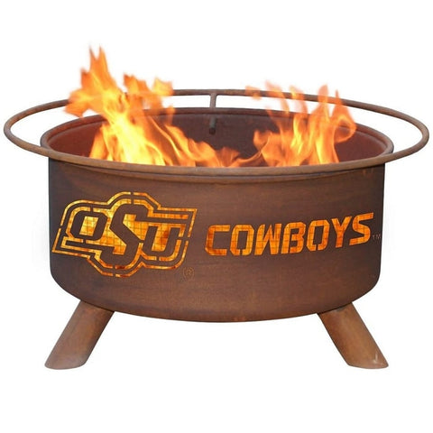 Oklahoma State F227 Steel Fire Pit by Patina Products with white background.