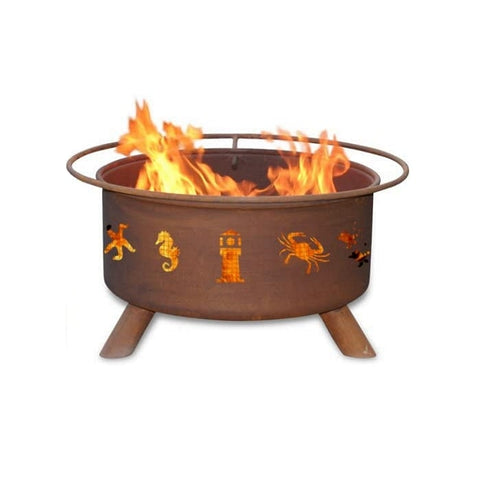 Patina Products Atlantic Coast F116 Steel Fire Pit with white background.
