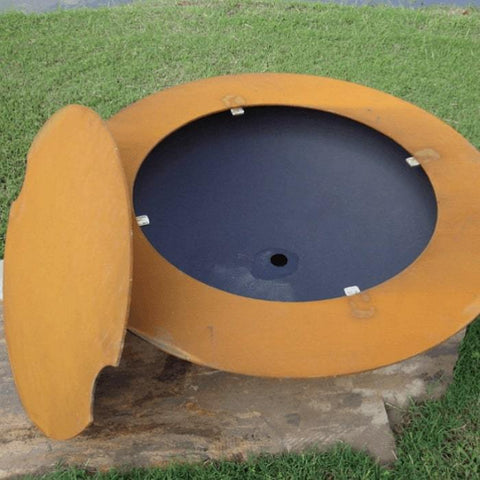 Saturn Steel Fire Pit by Fire Pit Art with Lid Put in the Side of the Pit