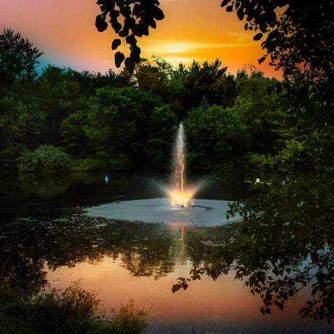 Scott Aerator Night Glo Residential Fountain LED Light Set with Sunset and Trees Background
