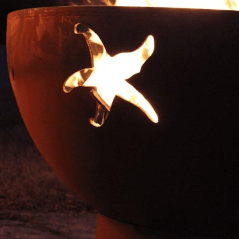 "Sea Creatures 36"" Steel Fire Pit by Fire Pit Art with Starfish Image"