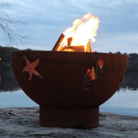 "Sea Creatures 36"" Steel Fire Pit by Fire Pit Art with Fire Inside the Firepit"