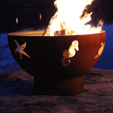 "Sea Creatures 36"" Steel Fire Pit by Fire Pit Art"