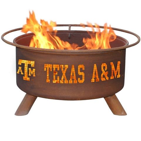 Texas A&M F232 Steel Fire Pit by Patina Products with white background.