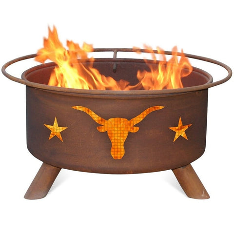 Texas Longhorn F202 Steel Fire Pit by Patina Products with white background.