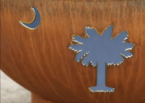"Tropical Moon 36"" Steel Fire Pit by Fire Pit Art with Trees and Moon Image"