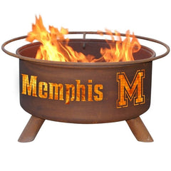 University of Memphis F470 Steel Fire Pit by Patina Products with white background.