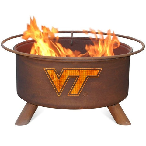 Virginia Tech F431 Steel Fire Pit by Patina Products with white background.