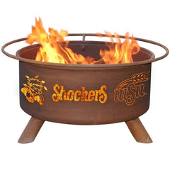 Wichita State F475 Steel Fire Pit by Patina Products with white background.