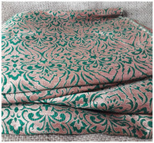 Load image into Gallery viewer, embroidery designs for dress material buy fabric online wholesale india Jacquard Soft Polyester Silk Bottle Green, Gold 43 inches Wide 8012