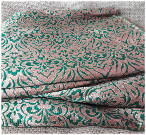 embroidery designs for dress material buy fabric online wholesale india Jacquard Soft Polyester Silk Bottle Green, Gold 43 inches Wide 8012