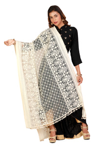 Delicate Designer Heavy Work Dupatta on Grey Net