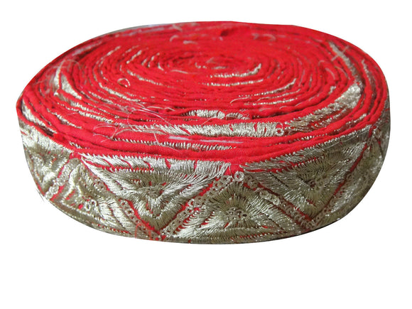 wholesale wood trim suppliers fringe trim for flapper dress Red Gold Embroidery with Sequins Polyester Less than 2 inch
