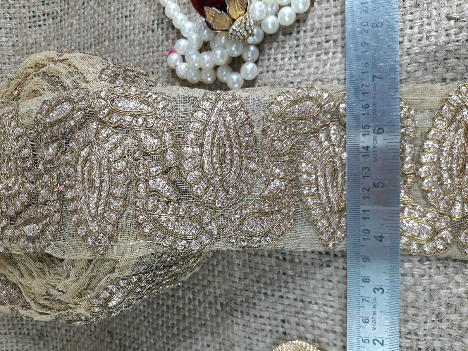 beaded applique trim lace fabric wholesale Cream Gold, Torquoise Blueream Embroidery n Sequins Net Less than 2 inch
