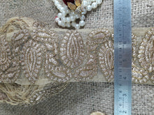 Load image into Gallery viewer, beaded applique trim lace fabric wholesale Cream Gold, Torquoise Blueream Embroidery n Sequins Net Less than 2 inch