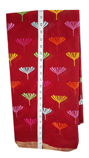 plain dress material online shopping fabric embroidery designs Chanderi Cotton Red 43 inches Wide _Red