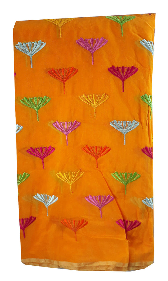 buy embroidered fabric online india online fabric store india Embroidery Chanderi Cotton Orange 43 inches Wide ange