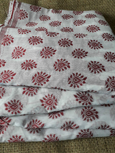 embroidery items online buy lace fabric online india Embroidered, Jaquard Cotton Off White, Maroon 49 inches Wide 1792