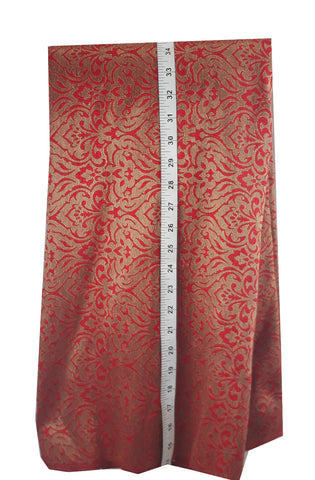 Image of indian fabric store saree work materials Jacquard Soft Polyester Silk Red, Gold 43 inches Wide 8014