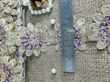 cheap fabric trim fabric trim suppliers Gold Purple 3D flower, embroidery, Stone Polyester Less than 4 inch