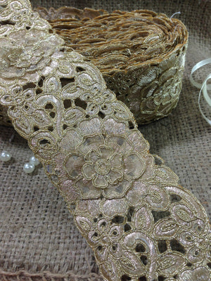 bridal lace fabric uk brown lace trim Blue Gold Stone Cotton Mix Less than a inch