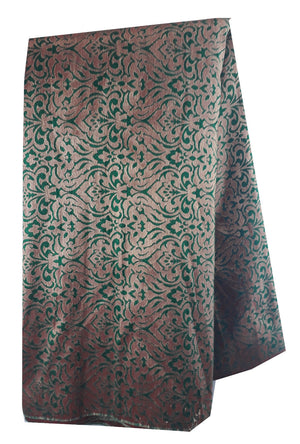 buy embroidered fabric online buy fabric online wholesale india Jacquard Soft Polyester Silk Bottle Green, Gold 43 inches Wide 8012