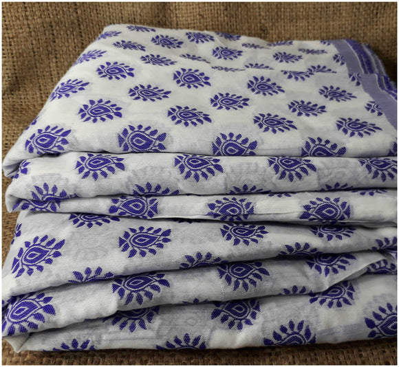buy cloth material online india buy embroidery materials online Cotton Off White, Blue 49 inches Wide 1793