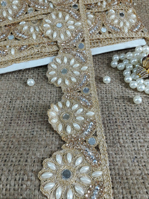 wholesale fringe trim fabric trim with holes Gold Gold Embroidered, Pearl, Stone, Real Mirror POlyester Less than 3 inch