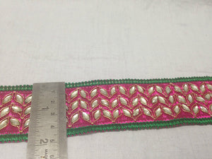 jacquard ribbon trims and accessories used in garment industry Pink Dark Pink, Green, Gold Embroidery n Stone Polyester Less than 2 inch
