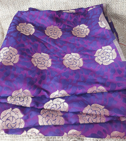 Image of fabric shop online india buy saree blouse material online Embroidered Silk Purple 49 inches Wide 1799