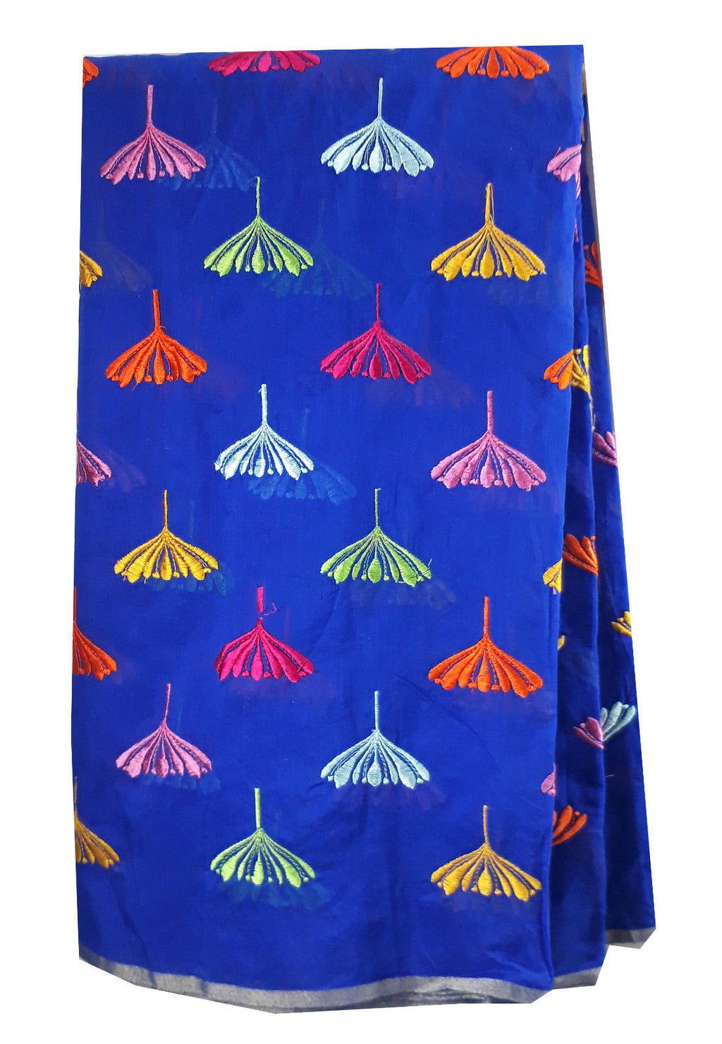 dress fabric online india buy embroidered fabric Chanderi Cotton Royal Blue 43 inches Wide Blue