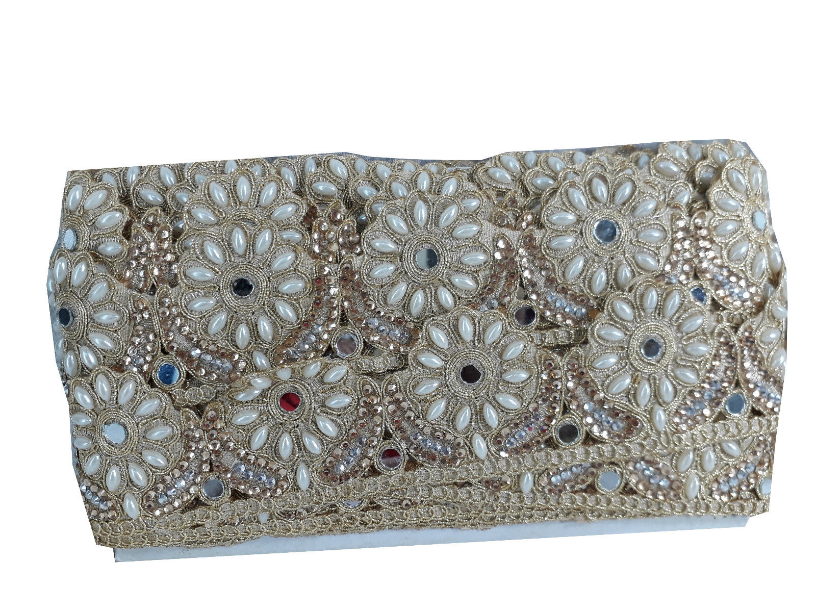 trims in fashion fabric trim with holes Gold Gold Embroidered, Pearl,  Stone, Real ...