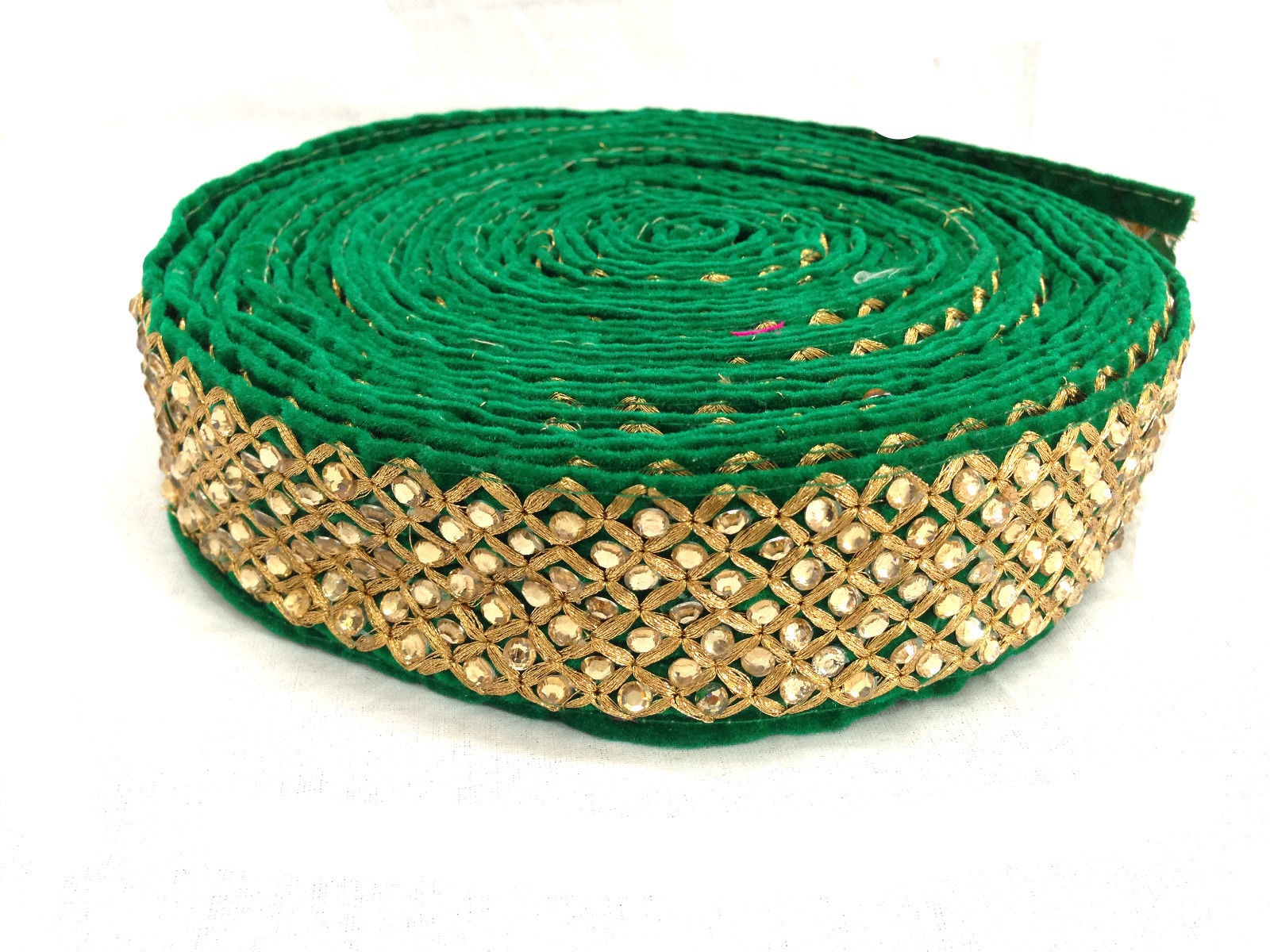 saree less border online wholesale wood trim suppliers Green Rani Pink, Gold Embroidery Velvet Less than 3 inch