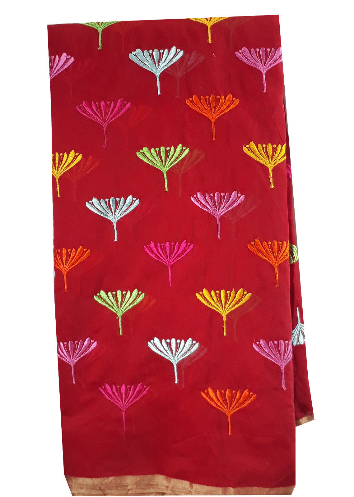 running material online india fabric embroidery designs Chanderi Cotton Red 43 inches Wide _Red
