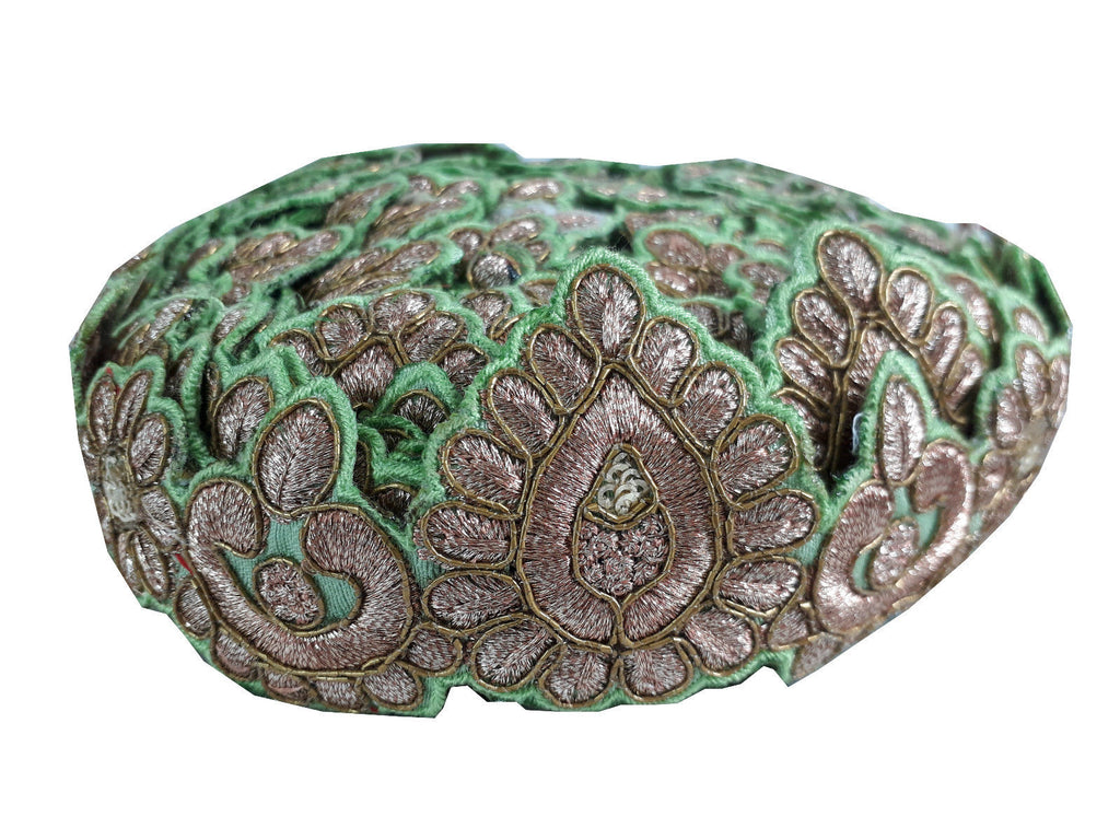 lace appliques for wedding dresses saree borders with price Green Gold, Copper Embroidered Polyester Less than 3 inch