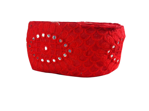 garment trim suppliers lace fabric for wedding dresses india Red Red Embroidery n Faux Mirror Polyester Less than 3 inch