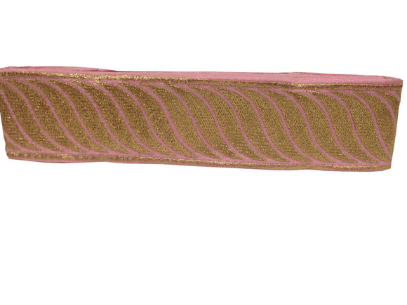 beaded bridal trim by the yard border lace for sale Pink Baby Pink, Gold Embroidery Shinny Sturdy Fabric Less than 2 inch