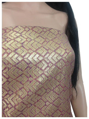 banarasiÊsilk salwar kameezÊmaterial 43 inches wide, Two Tone - Magenta Gold Jacquard Synthetic Brocade medium weight