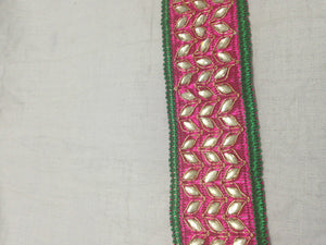 gold trim for sewing trims and accessories used in garment industry Pink Dark Pink, Green, Gold Embroidery n Stone Polyester Less than 2 inch