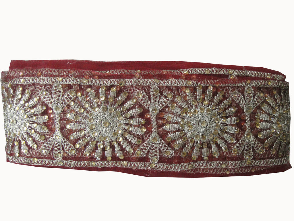 Sewing trim on clothing beaded applique trim Maroon Maroon, Dull Gold Embroidery n Stone Net Less than 4 inch