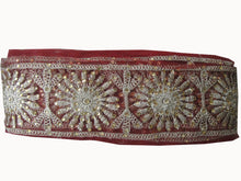 Load image into Gallery viewer, Sewing trim on clothing beaded applique trim Maroon Maroon, Dull Gold Embroidery n Stone Net Less than 4 inch