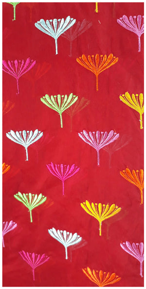 embroidery lace buy online fabric embroidery designs Chanderi Cotton Red 43 inches Wide _Red