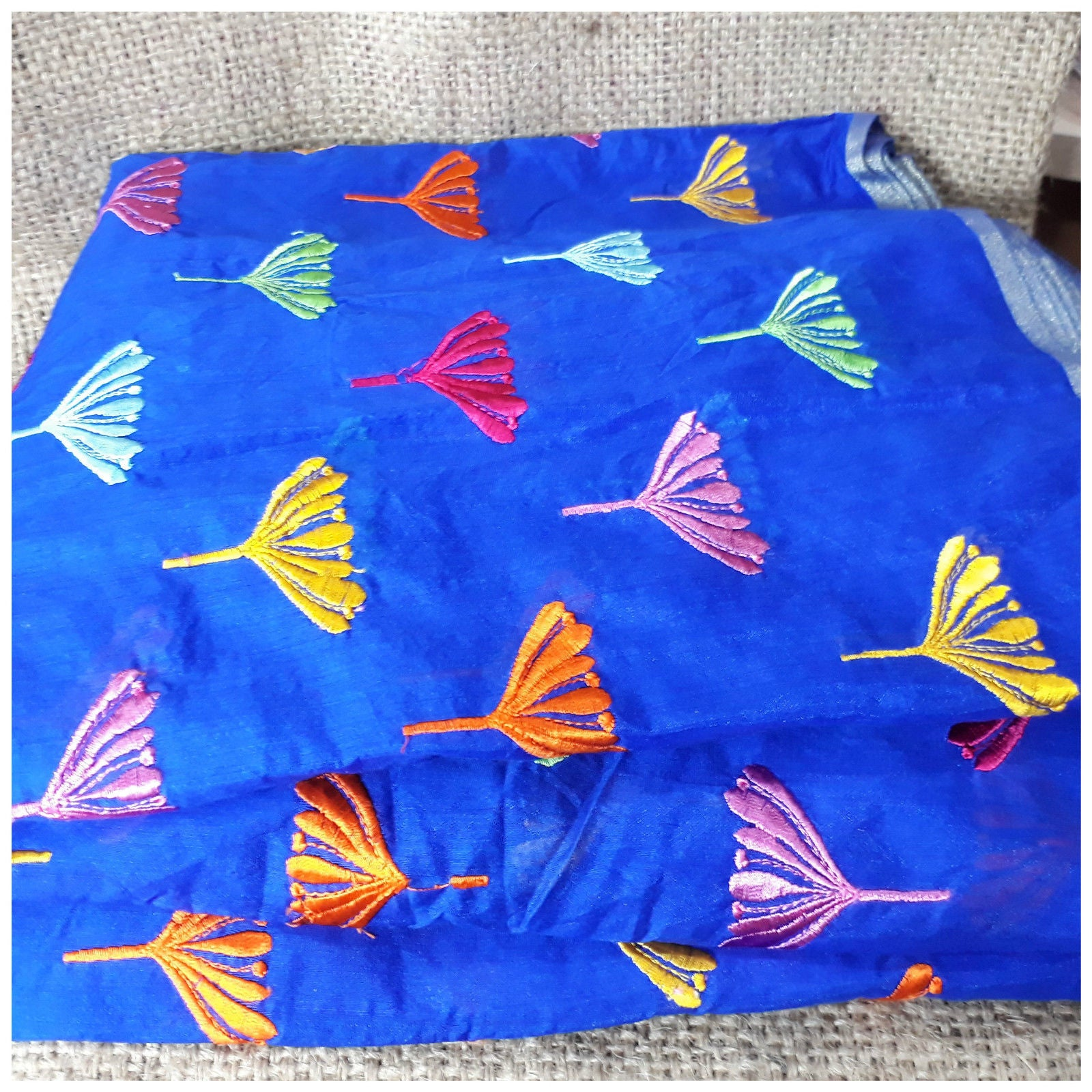 running fabrics online buy embroidered fabric Chanderi Cotton Royal Blue 43 inches Wide Blue