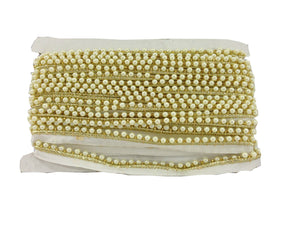 decorative trim ribbon long fringe trim Cream Pearl Beaded Cotton mix Less than a inch