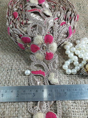 fabric ribbon trim rhinestone appliques for wedding dresses Copper Dark Pink, Copper Embroidery n Faux Mirror Polyester Less than 3 inch