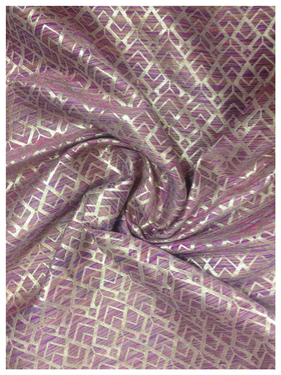 banarasiÊfabric online 43 inches wide, Two Tone - Magenta Gold Jacquard Synthetic Brocade medium weight
